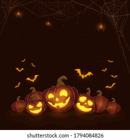 Halloween pumpkins on black night background. Holiday theme with Jack O' Lanterns, spiders and bats. Illustration can be used for clothing design, children's holiday design, cards, banners