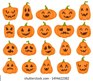 Halloween pumpkins. Orange pumpkin jack lantern characters. Spooky and angry carved faces for autumn holiday greeting card vector surprised food drawing collection cute smile silhouette set