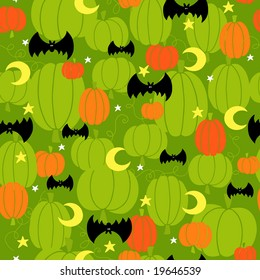 Halloween Pumpkins Seamless Repeat Pattern Vector Illustration