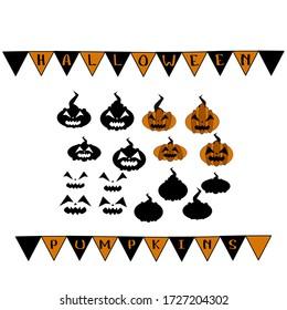 Halloween pumpkins set. Vector illustration.