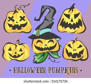 Halloween Pumpkins Set. Vector Objects