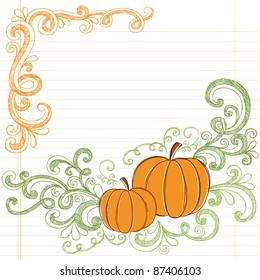 Halloween Pumpkins Sketchy Notebook Doodle Hand-Drawn Design Elements with Swirls and Vines. Vector Illustration on Lined Sketchbook Paper Background.