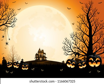Halloween pumpkins, spooky trees and haunted house with moonlight on orange background.
