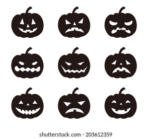 Halloween pumpkins with various expressions / Vector illustration