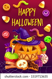 Halloween pumpkins with witch hat and trick or treat candies greeting card. Vector chocolate sweets, jellies and gummy worms, lollipops and cookies with skeleton skull, bats and zombie brain decor