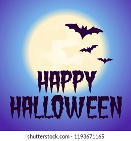 Halloween purple vector banner poster illustration card with moon and bats