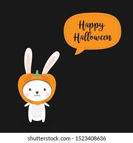 Halloween Rabbit - A Cute Rabbit Wearing Pumpkin Hat. Kawaii Bunny with pumpkin head wear halloween mascot costumes.
