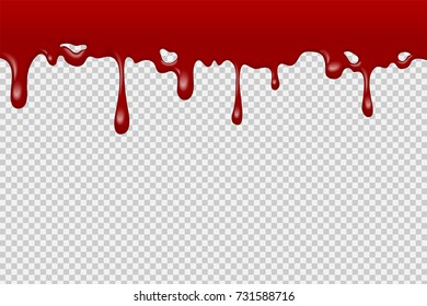 Halloween realistic dripping blood bath,  graphic vector design, transparent background.