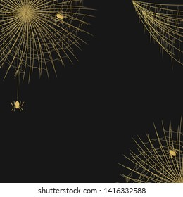 Halloween realistic golden spiderweb corner frame with hanging spiders for party invitation. Vector isolated spooky gold background for october night creepy decoration.