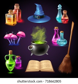 Halloween realistic set with various objects for witches isolated on black background vector illustration