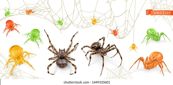 Halloween. Red, yellow and green spiders. 3d realistic vector icon set