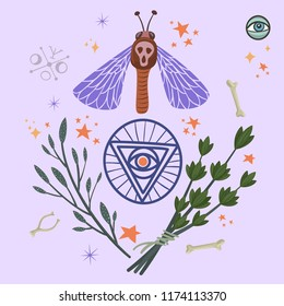 Halloween ritual items with moth, pentagram and herbs. Vector design for prints, tshirts, party posters and banners.