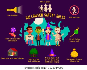 Halloween safety rules for kids, infographic layout template. With children in costumes of zombie, witch, vampire. Vector illustration