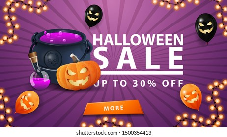 Halloween sale, up to 30% off, discount purple banner with button, halloween balloons, witch's cauldron and pumpkin Jack