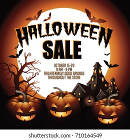 Halloween sale background with pumpkins, haunted house and copy space. EPS 10 vector.