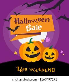 Halloween sale background vector illustration