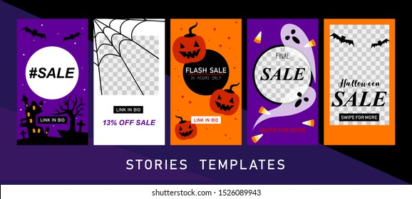 Halloween sale backgrounds. Instagram stories templates. Insta sale. Halloween Instagram stories. Set of holiday templates