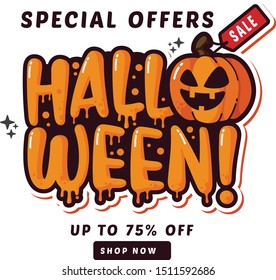 halloween sale badges and tags design vector illustration and sticker design
