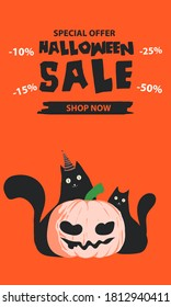 Halloween sale banner. Halloween background with pumpkin, zombie, monster, witch, black cats  and candy . Invitation flyer or template for a Halloween party. silhouette Vector illustration.