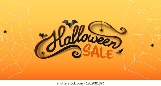 Halloween Sale banner with calligraphy text, paper bats, spiders, spiderwebs. Hand drawn lettering. Special offer banner template for holiday shopping. Vector Illustration.