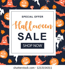 Halloween Sale banner. Greeting cards with traditional symbols.