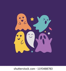 Halloween Sale Banner with holiday symbols pumpkin and ghost. Great for banner, voucher, coupon. vector illustration