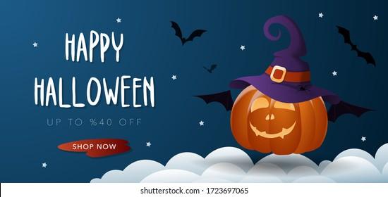 Cartel de la venta de Halloween con calabaza con linterna Jack O' Lantern, sombrero brujo, murciélago, nube y estrellas. Antecedentes vectoriales de la invitación al partido, tarjeta de felicitación, web, medios sociales.