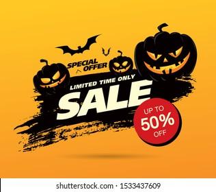 halloween Verkauf Banner Layout Design. Vektorgrafik