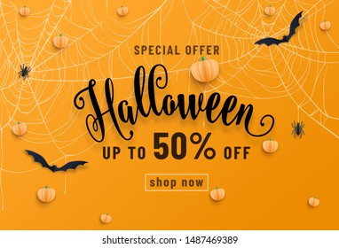 Halloween sale banner, party invitation concept background. Holiday design with bats, spider, cobweb, pumpkin, lettering font text. Paper cut style. Vector illustration.