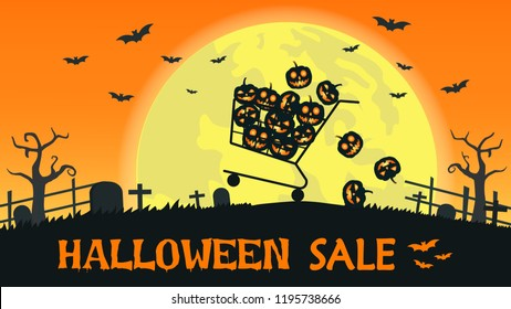 Halloween sale banner with shopping cart carry smile pumpkin on the full moon background - Vector illustration