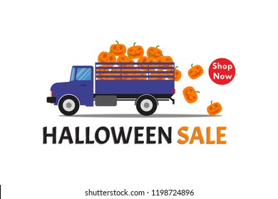 Halloween sale banner with truck carry smile pumpkin on white background - Vector illustration