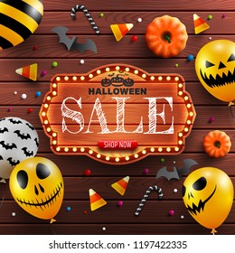 Halloween Sale Banner with vintage wooden board,Halloween decoration and Halloween Ghost Balloons.Scary air balloons.Website spooky or banner template.Vector illustration EPS10