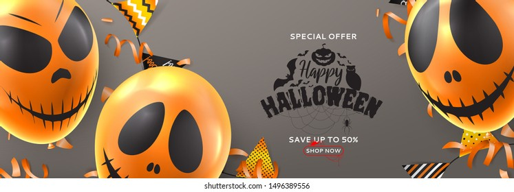 Halloween sale festive horizontal banner. Vector illustration realistic orange air balloons with scary smiles. Halloween sale background with garlands and confetti.
