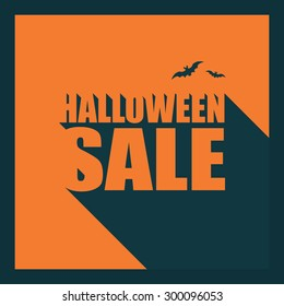 Halloween sale poster template. Special holiday discounts flyer. Creative typography banner with long shadow text. Eps10 vector illustration.