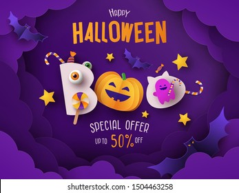 Halloween Sale Promotion banner with pumpkin, candy, bats and ghost in night clouds. Text Boo stylized as cute monsters. Paper cut style. Halloween design for poster, party invitation or greeting card