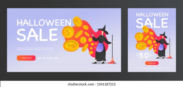 Halloween sale promotion banners with a witch, a magic wand and a broom that conjures coins. Vector flat illustration for web, poster flyers, ad, promotions, and social media marketing,