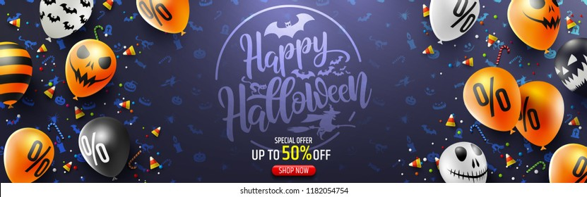 Halloween Sale Promotion Poster with Halloween candy and Halloween Ghost Balloons.Scary air balloons.Website spooky or banner template.Vector illustration EPS10