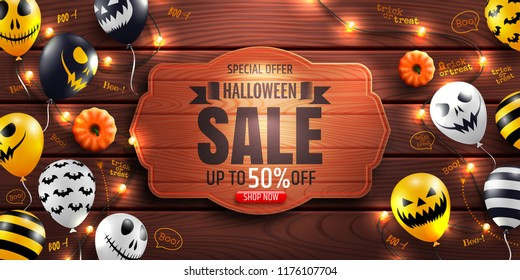 Halloween Sale Promotion Poster with Halloween Ghost Balloons and string light on wood background.Scary air balloons.Website spooky or banner  template.Vector illustration EPS10