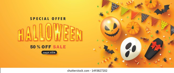 Halloween Sale Promotion Poster with scary balloons,coffin,candy, pumpkins, paper bats, spiders and serpentine on orange background.Vector illustration