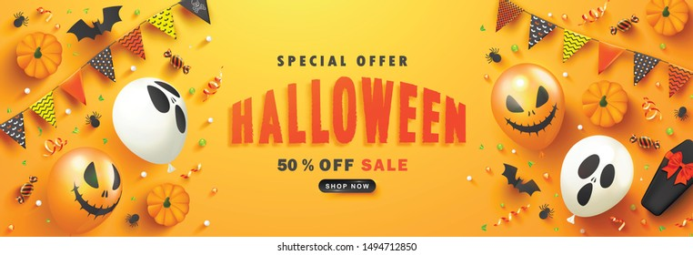 Halloween Sale Promotion Poster with scary balloons, paper bats,spiders, candy,coffin and serpentine on orange background.Vector illustration