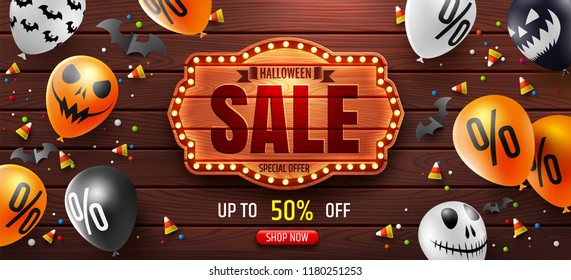 Halloween Sale Promotion Poster with Halloween Sale text and string light on vintage wooden board.Scary air balloons on wood background.Website spooky or banner  template.Vector illustration EPS10