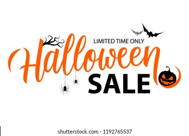 Halloween Sale special offer banner template with hand drawn lettering for holiday shopping. Limited time only. Vector illustration.