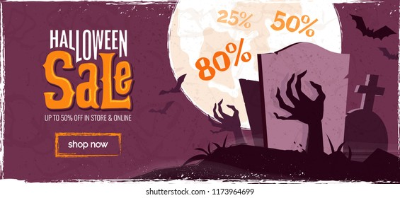 Halloween sale spooky background. Vector illustration