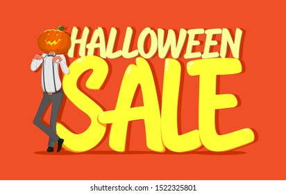 Halloween sale sale vector banner with inscription and background. Pumpkin in a suit with suspenders and bow-tie, hand drawn elements. Great for voucher, offer, couponholiday sale.Vector illustration