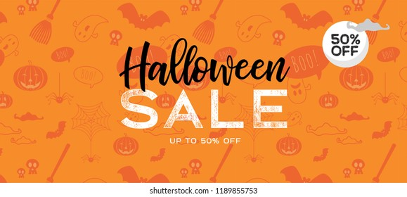 Halloween Sale vector banner with lettering and detailed engraving background. Pumpkin, witch hat, skull, cat hand drawn elements. Great for voucher, offer, coupon, holiday sale. vector illustration