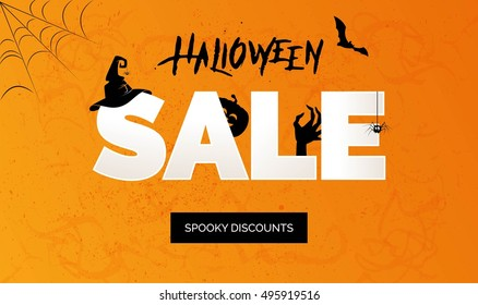 Halloween Sale vector banner with lettering and holiday symbols pumpkin, witch hat, zombie, spider and bat. Great for banner, voucher, offer, coupon, holiday sale.
