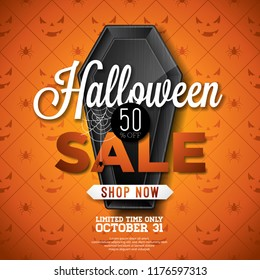 Halloween Sale vector illustration with black coffin and cobweb on orange spider texture background. Holiday design template with typography lettering for offer, coupon, celebration banner, voucher or