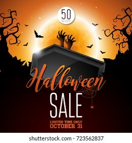 Halloween Sale vector illustration with coffin, zombie hand, bats, monn and Holiday elements on orange background. Design for offer, coupon, banner, voucher or promotional poster