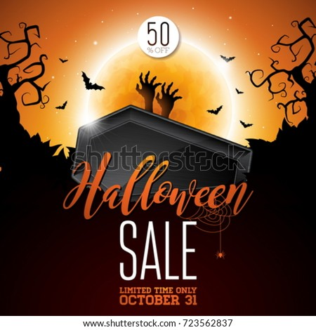 halloween sale vector illustration with coffin zombie hand bats monn and holiday elements