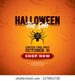 Halloween Sale vector illustration with spider and lettering on orange scary face background. Design for offer, coupon, banner, voucher or promotional poster.